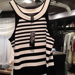 INC black and white striped knit top, nwt, MP